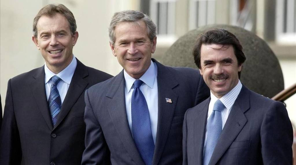 Tony Blair, George Bush y José María Aznar en la Cumbre de las Azores