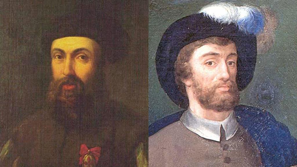 (izq) Fernando de Magallanes 1480 - 1521 y (der) Juan Sebastián Elcano 1476 - 1526. Fotos: www.rtve.es