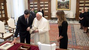 Visita de Pedro Sánchez al papa Francisco en el Vaticano. (Foto: RTVE)