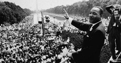 Martin Luther King desde las escalinatas del Monumento a Lincoln en Washington en 1963