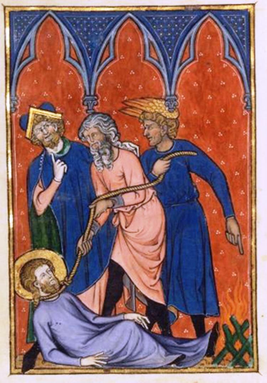 Martirio de San Bernabé. Libro de Horas de Madame Marie, Hainaut, s.XIV.  (Imagen: www.preguntasantoral.es)