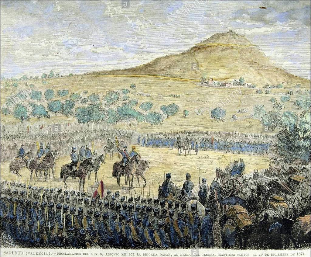 Proclamación de Alfonso XII por las tropas de Martínez Campos en Sagunto. (Foto: Alamy).