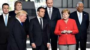 Trump, Macron y Merkel. (Foto: RTVE).