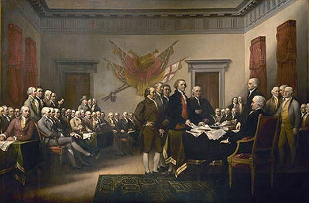 Esta pintura de John Trumbull hace referencia al 28 de junio de 1776, cuando se presentó el Primer borrador de la Declaración de la Independencia