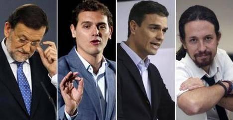 Rajoy, Rivera, Sánchez e Iglesias. (Imagen: Público)