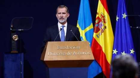 S.M. Felipe VI durante su intervención en la entrega de los Premios Princesa de Asturias 2020. (Foto: RTVE)