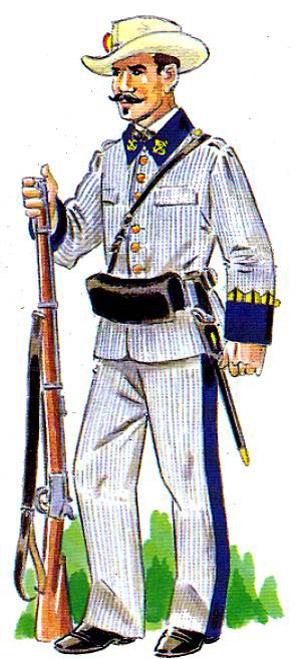 Soldado español en la Guerra de Cuba. (Ilustración: http://www.armada.mde.es)