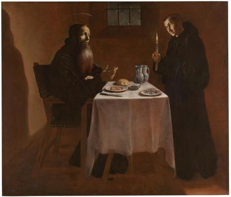 'La cena de San Benito', de Fray Juan Andrés Rizi. Museo del Prado, Madrid.