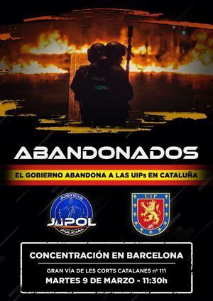 Concentración de Policías Nacionales en Barcelona el martes 9 de marzo