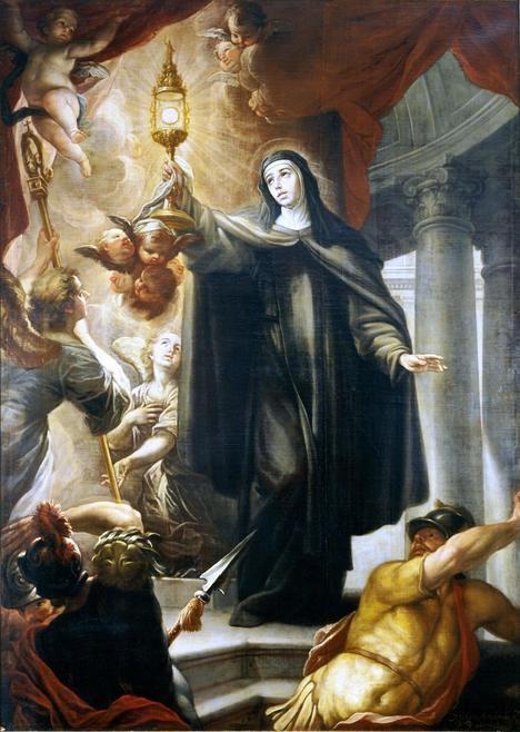 Isidoro Arredondo: Santa Clara ahuyentando a los infieles con la Eucaristía. 1693. Óleo sobre lienzo. Museo del Prado (Madrid).