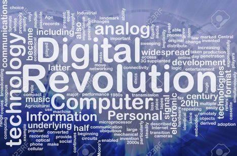 Ilustración del concepto wordcloud de la revolución digital internacional