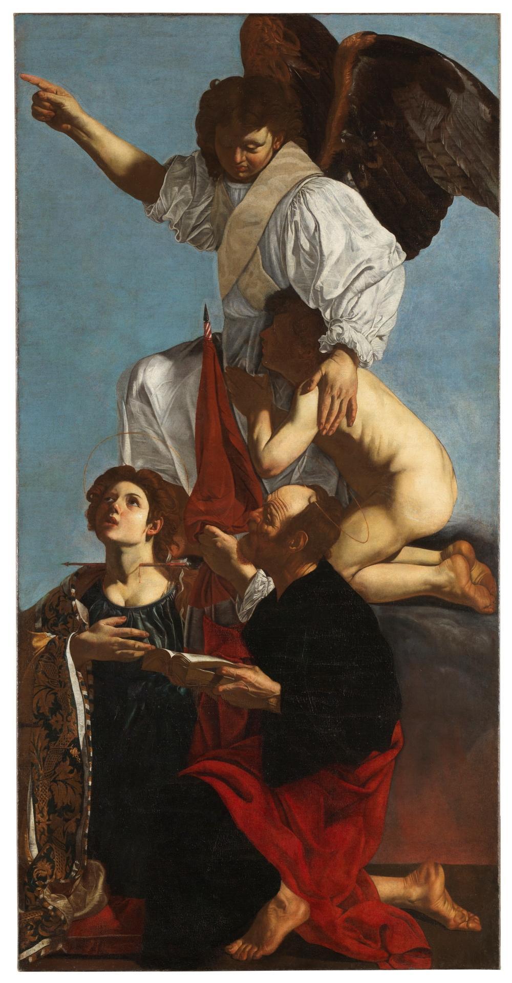 Ángel custodio con santa Úrsula y santo Tomás. Cecco de Caravaggio (Francesco Buoneri). (Museo del Prado)