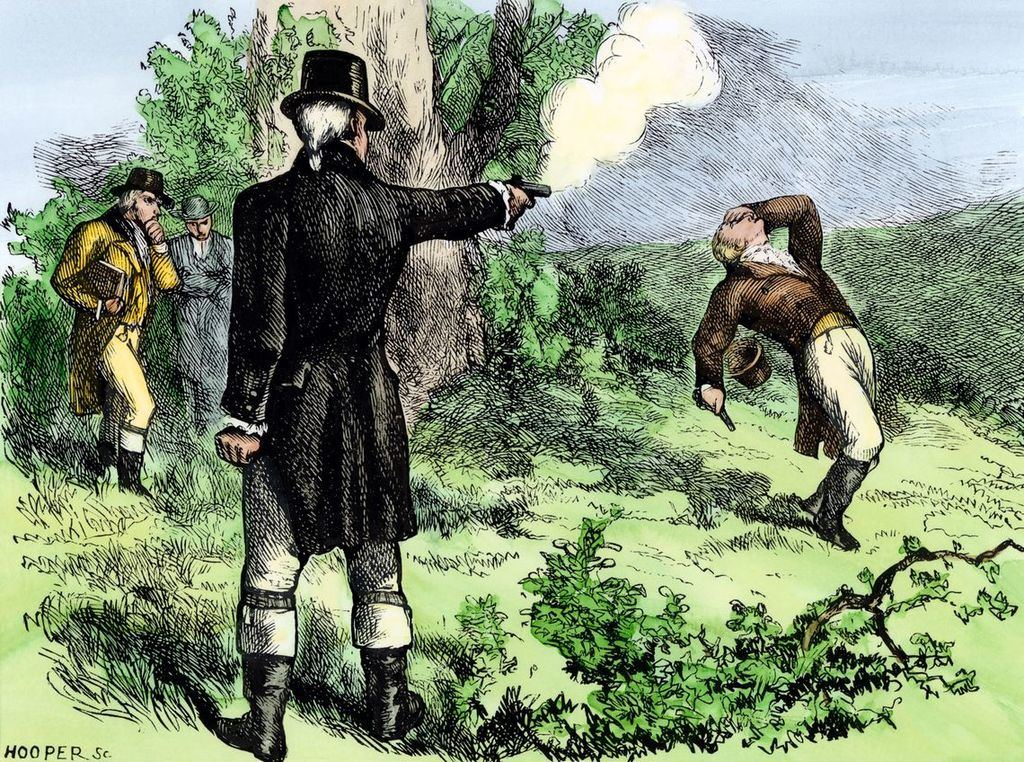 Duelo entre Alexander Hamilton y Aaron Burr, en el que resultaría muerto el primero. (Ilustración: © North Wind Picture Archives / https://www.muyhistoria.es/).