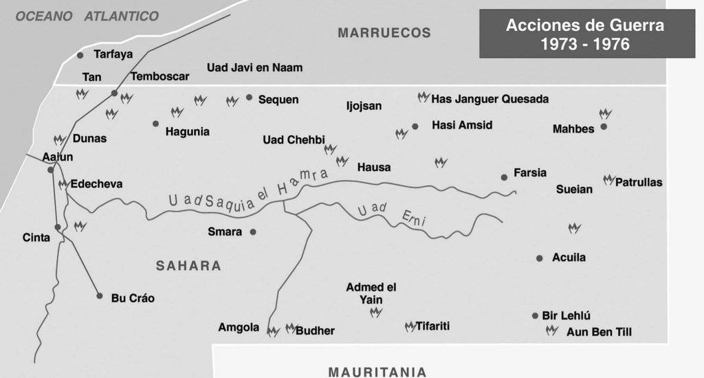 Acciones de guerra del Polisario contra España. (Ilustración: 'El conflicto del Sahara Occidental', pág. 36, de Ignacio Fuente Cobo y Fernando M. Mariño Menéndez).
