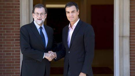 El Presidente del Gobierno Mariano Rajoy y el Secretario General del PSOE Pedro Sánchez