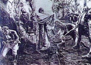 Juan Crisóstomo de la Llave y Margueli y otros reos en el lienzo de José María Uría «¡Al suplicio los afrancesados!». (https://www.lne.es/asturias/).