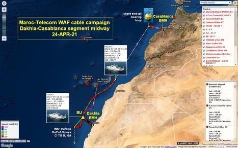 'Marruecos ha entrado en las aguas territoriales de España en Canarias con un trazado de cable de fibra óptica empleando una mediana marítima ajena a la norma internacional'. (Ilustración: https://puertos928.com/marruecos-ya-cablea-sus-aguas-territoriales-de-canarias/).