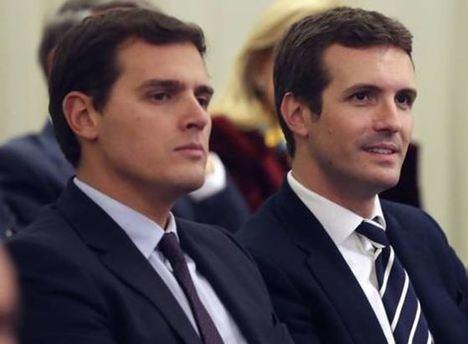 Albert Rivera y Pablo Casado, presidentes de los partidos españoles C's y PP.
