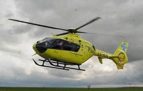 Una cigüeña choca con el helicóptero del Sacyl