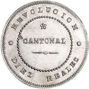 Moneda de 10 Reales plata 1873 Revolución cantonal de Cartagena