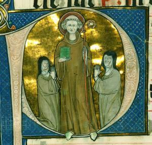 Bernardo de Claraval en el Antifonario de la abadesa de Santa María de Beaupré, siglo XIII, Walters Mss. 769. (Título y foto: Wikipedia).