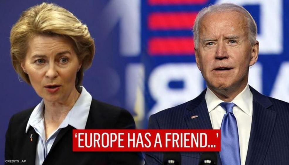 Joseph R. Biden y la presidenta de la Comisión europea, Ursula von der Leyen. (Montaje fotográfico: https://senegaalnet.com/)