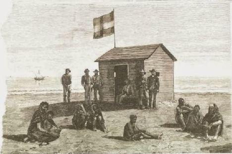 El 3 de noviembre de 1884 la expedición de Bonelli instala casetas con el pabellón español en la costa de Río de Oro (África Occidental).