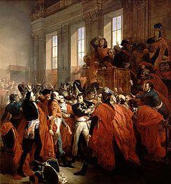 Golpe de Estado del 18 de brumario. Napoleón abucheado por los diputados. (François Bouchot, 1840)