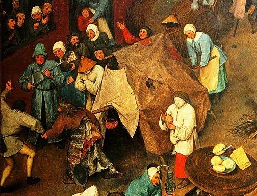 'El combate entre Don Carnal y Doña Cuaresma' de Brueghel el Viejo (Fragmento).