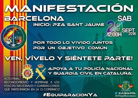 Barcelona, 29 de septiembre Manifestación y homenaje a los Policías y Guardias Civiles del 1-O