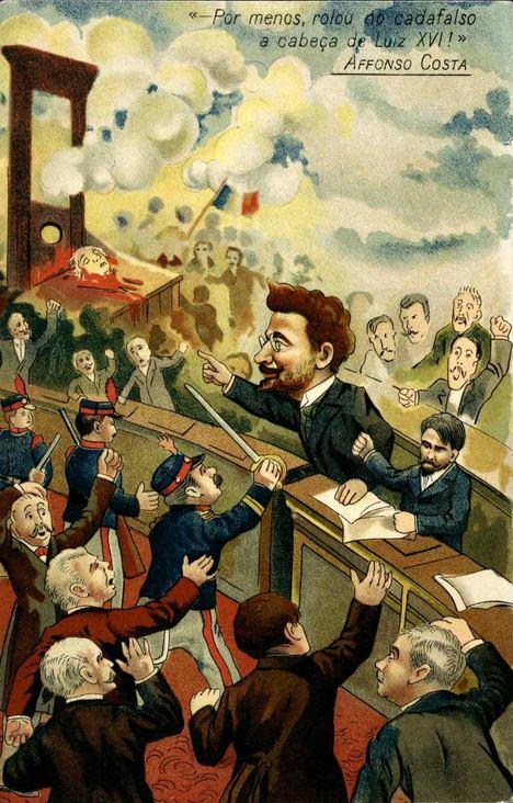 Caricatura de Alfonso Costa y su famoso discurso en la Cámara de los Diputados portuguesa el 20/11/1906. (Fuente: wikipedia.org)