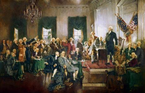'La Constitución americana resultante de la Convención de Filadelfia en 1787 es la primera constitución federal moderna.' (Los autores). Óleo de Howard Chandler Christy.