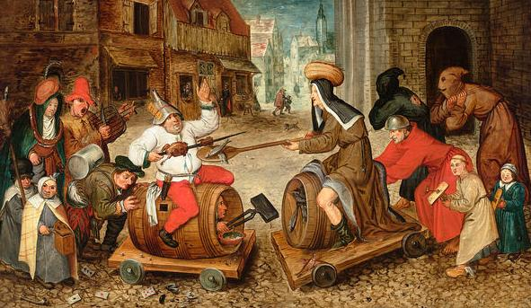 Fragmento de El combate entre don Carnal y doña Cuaresma. Pieter Brueghel el Viejo, 1559. Museo de Historia del Arte, Viena.