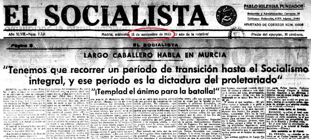 'El Socialesta', órgano oficial del PSOE, del 15 de noviembre de 1933. (Foto: Navarra Confidencial)