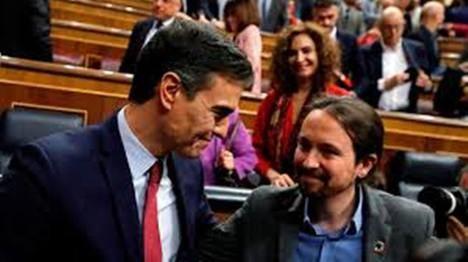 Sus Excelencias Pedro Sánchez (Presidente) y Pablo Iglesias (Vicepresidente) en ambos casos del Gobierno de España. Foto: RTVE.es)