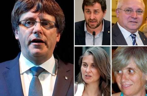 Carles Puigdemont, Antoni Comin, Lluís Puig, Meritxell Serret y Clara Ponsatí. (Foto: El País, EFE)