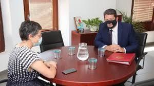 Encuentro entre la ministra de Asuntos Exteriores de España, González Laya, y el ministro principal gibraltareño Fabián Picardo. (Foto: RTVE)