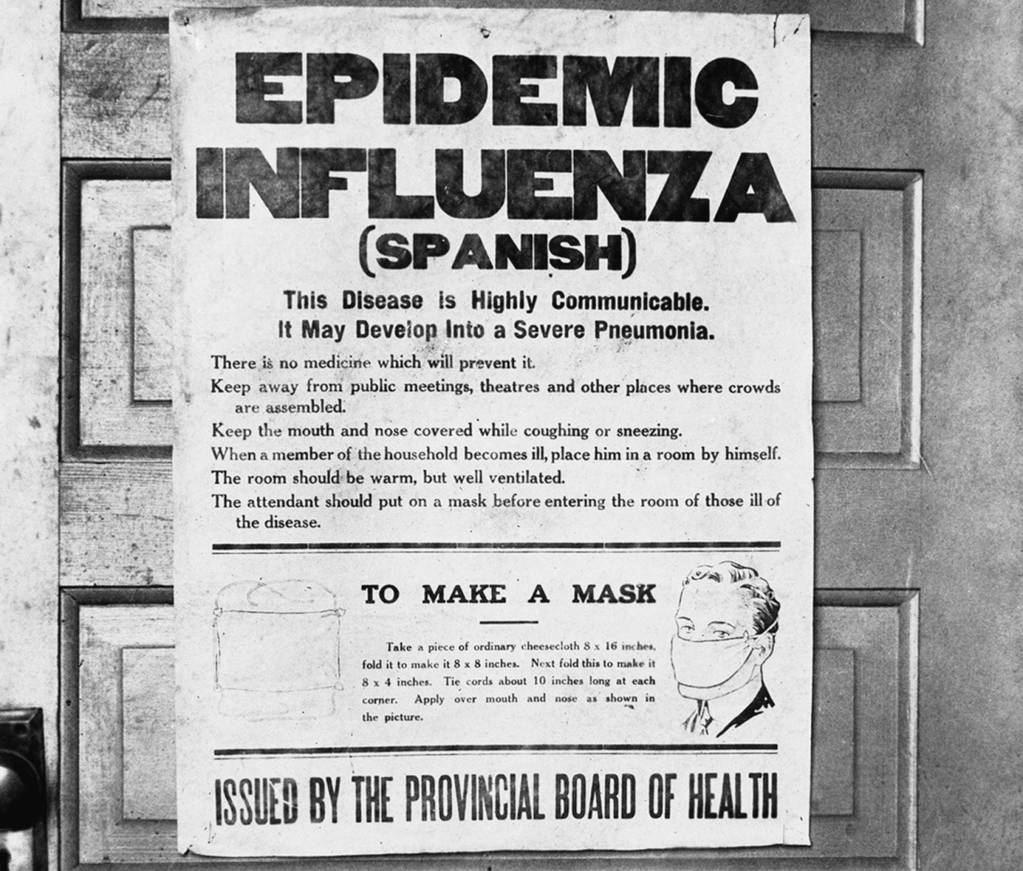 """Consejos para prevenir la """"gripe española"""" en Alberta (Canadá), en 1918. ARCHIVO DEL MUSEO DE GLENBOW. (El País, 31/03/20)."""