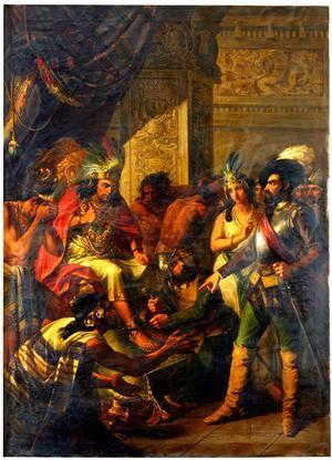Hernán Cortés toma preso a Moctezuma. Óleo de Antonio Gómez Cros, Museo del Prado, Madrid.