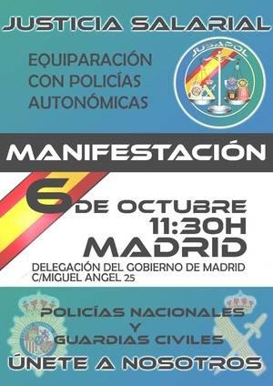 Manifestación de policías y guardias civiles en Madrid