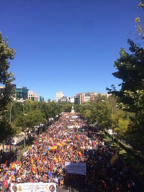 Los manifestantes en el paseo de La Castellana de Madrid