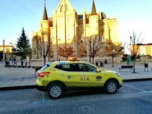 El nuevo VIR con el astorgano Palacio de Gaudí al fondo