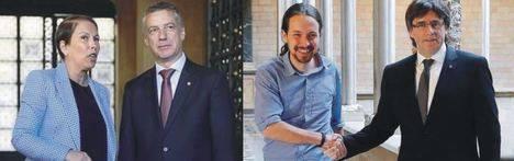 Uxue Barkos, Íñigo Urkullu, Pablo Iglesias y Carles Puigdemont