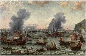 'La Batalla de Gibraltar, 25 de abril 1607', de Adam WIillaers. (Museo Nacional del Prado, Madrid).