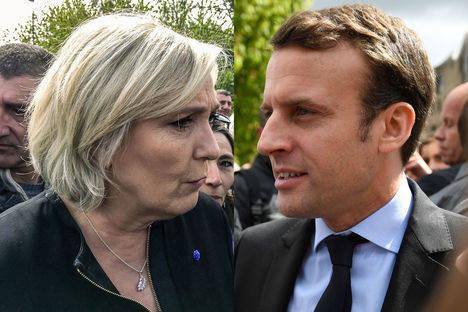 Marine Le Pen y Emmanuel Macron (montaje de Paris Match)