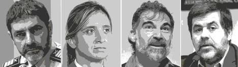 Los presuntos sediciosos: (de izq. a der.) José Luis Trapero, Teresa Laplana, Jordi Cuixart y Jordi Sánchez