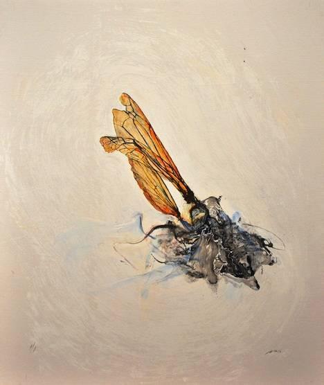 Luis Moro. 'Alados', serigrafía pintada sobre lienzo