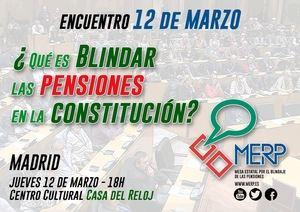 MERP, encuentro el 12 de marzo: '¿Qué es blindar las pensiones en la Constitución?'
