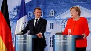 El Presidente francés Emmanuel Macron y la Canciller alemana Angela Merkel. (Foto: RTVE).