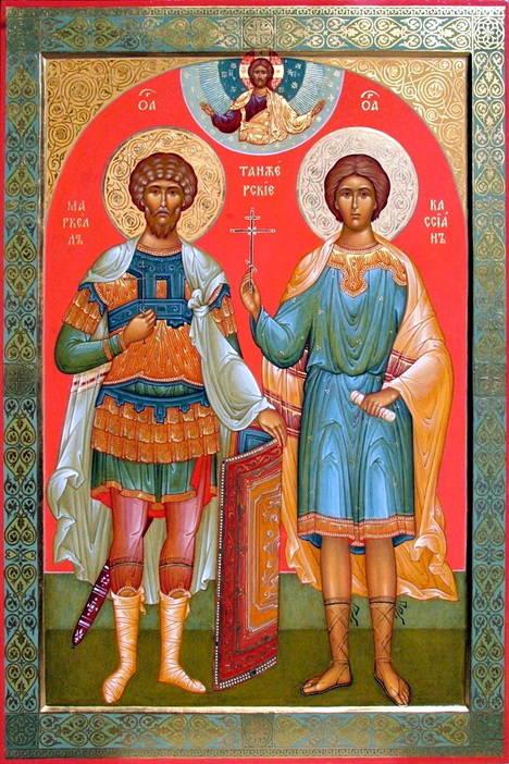 Icono griego de los Santos Marcelo y Casiano.